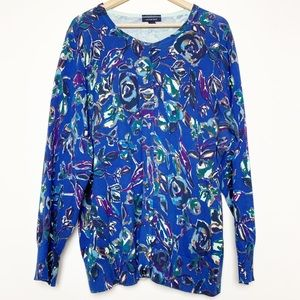 Land's End Supima Cotton Blue Floral Cardi Sweater